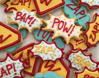 1 dzn. Custom superhero decorated cookies vintage comic style zap bam pow Personalized party favor or treat table Wonder Woman