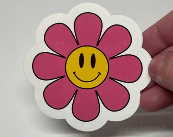 Pink Flower Power Vinyl Sticker, Smiley Flower Sticker, Smiley Face Sticker