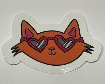 Cool Cat Vinyl Sticker, Orange Cat Sticker
