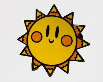 Smiling Sun Pin Hard Enamel Sunshine