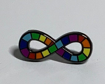 Mini Neurodiversity Pride Infinity Rainbow Enamel Pin Brooch Autism Autistic 1 inch