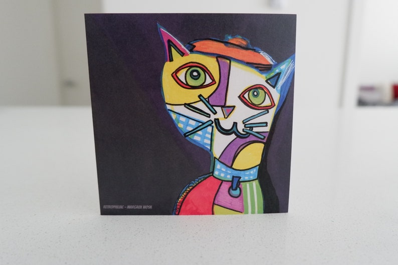 Picatso Picasso Abstract Cat Note Greeting Card image 0