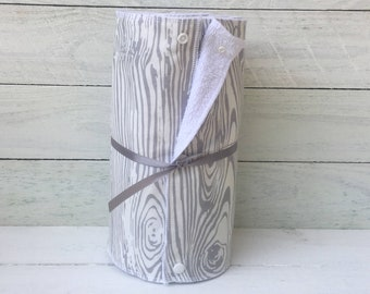 Unpaper towels, reusable paper towels, cloth paper towels, snapping paper towels - Wood Grain // gift //