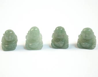 Aventurine Buddha Beads Green Stone Quartz Beads Set of 4 with 1.3mm Hole