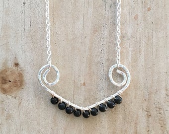 Silver Necklace| Black Sunset silver necklace| Effortlessly pretty| Easy Styling| Boho chic| Simple but elegant| Women| Silver Jewelry