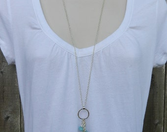 Fine Silver and Amazonite necklace.