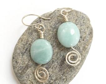 Amazonite earrings|The Blue Sea earrings|Wire Wrapped Earrings|BohoChic Earrings|Coastal Flair Earrings|SilverAmazonite Earrings