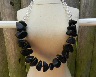 Matte black sea glass and chain necklace