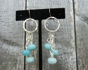 Fine silver and Amazonite earrings