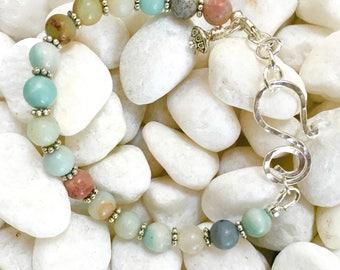 Amazonite beaded bracelet| Rainbow Skies bracelet| Boho Chic bracelet| women's beaded bracelet|Beach Inspired bracelet| Handmade bracelet