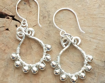 Silver Island Dream earrings| Sterling Silver wire wrapped jewelry|Silver beads| hammered earrings