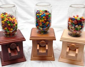 Hand-made Wooden Candy Dispenser - M&M Peanut Skittles Snack - Wood Candy Dispenser