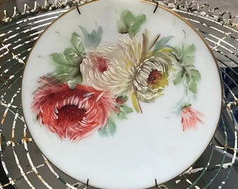 Painting Flowers Botanical Edwardian Victorian Parlor Painting Sunday Painting Oil on Milkglass French Marie Antoinette