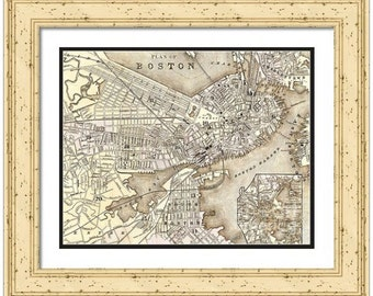 MAP of BOSTON Massachusetts 2 in a Vintage Grunge Weathered Antique style - Digital Download