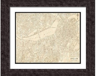MAP of BOSTON Massachusetts in a Vintage Grunge Weathered Antique style - Digital Download