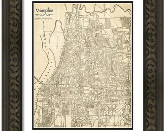 MAP of MEMPHIS Tennessee in a Vintage Grunge Weathered Antique style