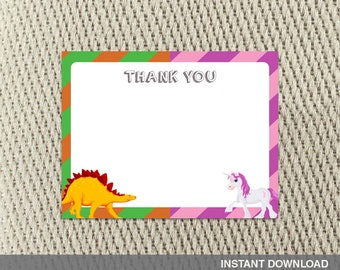 8abd8e895406e Thank you card - Joint Birthday Party -Construction-Unicorn-Twins-Siblings-Happy  Birthday - Instant Download - DIY Digital Decorations