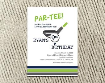cd314284271aa Golf - Boys - Girls - Tee Off - Birthday Party Invitation  5x7 or 4x6  digital file
