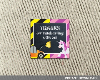 d38645bebbcb1 Thank You Tags -Stickers-Joint Birthday Party-Construction-Unicorn-Twins-Siblings-Happy  Birthday- Instant Download - DIY Digital Decorations