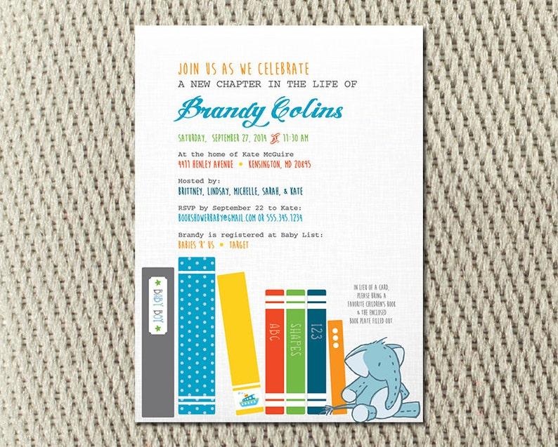 Elephant Shabby Chic: Digital 5x7 Jpeg Book Baby Boy Shower Invitation Library
