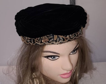 Vintage Black Velvet Hat Round 1950s 60s Pillbox Swag Hat Metallic Embroidered Designs Sequins Rockabilly Chic 20.5 in.