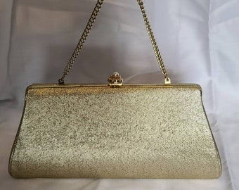 Vintage Clutch Purse 1950s 60s Gold Metallic Fabric Evening Bag Chain Handle Pearl Clasp Rockabilly 10 x 5 in.