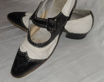 Vintage 1920s Shoes Unique Black White Leather Spectator Wing Tip Shoes Plastic Buckles Mary Jane Style Art Deco Flapper
