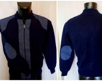 SALE Deadstock Vintage Men's 1970s Denim Sweater MOD Zipper Cardigan Elbow Patches Hipster Unworn 40 M