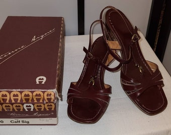 Vintage Designer Sandals 1970s 80s Etienne Aigner Oxblood Maroon Leather Sandals Metal A Logos Boho 8 1/2 small flaw