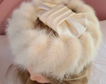 Vintage Mink Fur Hat 1950s Round Cream White Mink Fur Open Hat Large Satin Ribbon Across Top Rockabilly Wedding Bridal 21 in.