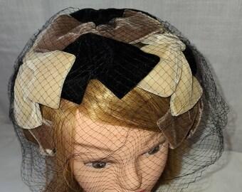 Vintage Half Hat 1950s Black Beige Brown Velvet Ribbon Wire Half Hat Clamp Hat Rockabilly