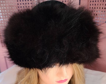 Vintage Fox Fur Hat 1960s Round Black Velvet Hat Wide Fluffy Dark Brown Fox Fur Trim Boho 22 in.