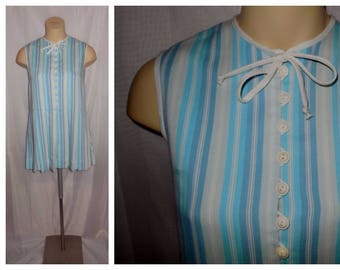 SALE Vintage Minidress 1960s Vertical Striped Mod Scooter Dress Short Dress Long Blouse Lots of Buttons XS S chest 34 in