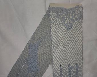 SALE Deadstock Vintage Crochet Gloves 1930s 40s Style Light Blue Cotton Mesh Gloves Rockabilly Art Deco M