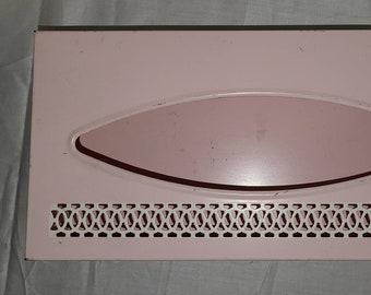 Vintage Tissue Box Holder 1950s Light Pink Metal Tissue Holder Open Cream Curlicue Design Rockabilly 10.5x 5 inches
