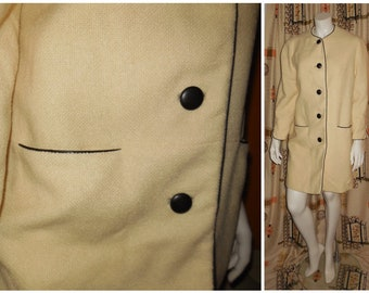 SALE Vintage 1960s Coat Lightweight Cream Woven Wool Mod Coat Black Vinyl Piping and Buttons Boho L chest to 44 in.