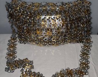 Vintage Metal Purse 1960s 70s Walborg Pop Can Top Chain Link Multicolored Metal Long Strap Purse Mod Boho