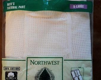 DEADSTOCK Vintage Men's Underwear 1980s Long Underwear Soft Beige Waffle Texture 100% Cotton Unworn USA Rockabilly XL