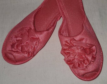 Unworn Vintage Slippers 1960s Hot Pink Soft Nylon Rosette Bedroom Slippers Rockabilly Pinup L XL 9.5 10