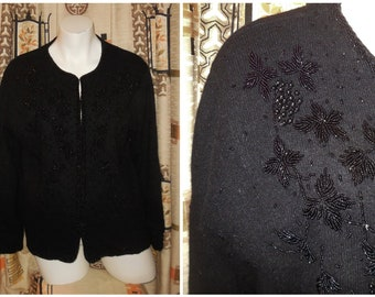 Vintage 1950s Sweater Black Wool Beaded Cardigan Intricate Designs USA Rockabilly Pinup 50er Strickjacke L chest to 41 inches