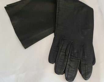 Vintage Gloves 1950s Long Black Thin Kid Leather Gloves Hemphill Wells Made in France Elegant Fetish 6.5