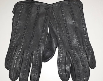 Vintage Leather Gloves 1970s Thin Dark Gray Soft Leather Gloves Woven Detail Unlined Men's Women's Unisex Mod Winter Gloves M L