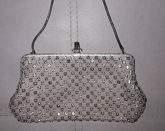 Vintage 1950s Rhinestone Purse Small Evening Bag Prong Set Rhinestones Unique Clasp German Rockabilly small issues