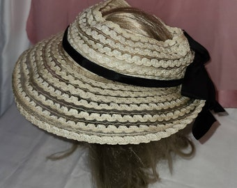 Vintage Open Hat 1940s 50s Large Round White Woven Straw Hat Open Crown Large Black Bow Rockabilly 20 in.