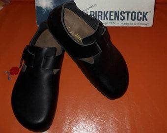 Unworn Vintage Birkenstocks Women's Black Leather Birkenstock Shoes London 66191 Buckles Closed Toe Made in Germany Boho EUR 36 S