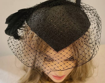 Vintage Cocktail Hat Small Black 1950s Fascinator Hat Large Black Feather 20s 30s Art Deco Style Rockabilly