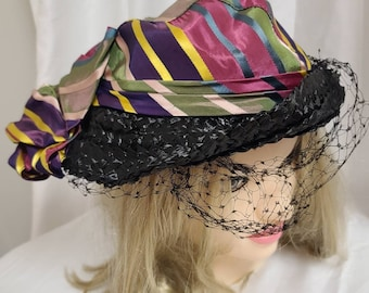 Vintage 1930s Hat Unique Round Black Straw Hat Asymetric Striped Silk Fabric Crown and Huge Bow Art Deco Ripped Veil  20.5 inches