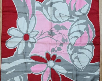 Vintage Silk Scarf 1960s de la Roche Designer Scarf Red White Pink Abstract Floral Pattern Hand Rolled Edges Mod 30 in. sq.
