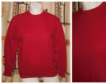 SALE Vintage Wool Sweater 1950s 60s Red Angora Wool Blend Long Sleeve Pullover Jumper Rockabilly Pulli Deltex Brand L XL chest to 43 inches