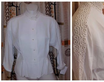 SALE Vintage 1950s Blouse White Rayon Open Embroidery Lace Blouse Long Sleeves Pearl Buttons Rockabilly Secretary M chest to 38 in